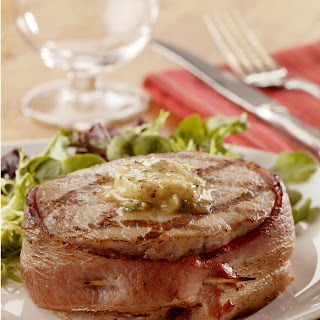 Bacon-Wrapped Pork Chops with Seasoned Butter Recipe