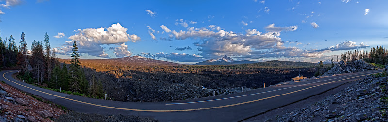 Photo: Panoramic of the McKenzie Pass Lava Field. Belknapp, Mt Washington and Mt Jefferson as seen frm Windy Point.