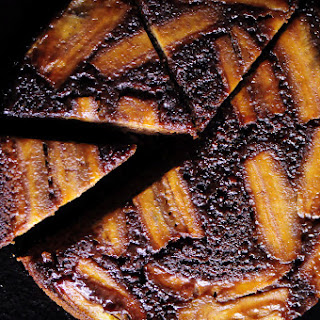 Upside Down Caramelized Gingerbread Banana Cake (Gluten Free).