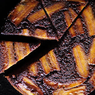 Upside Down Caramelized Gingerbread Banana Cake (Gluten Free).