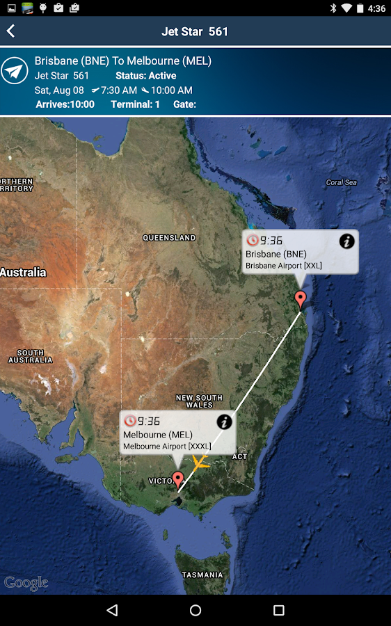 Melbourne Airport MEL Flight Tracker- screenshot