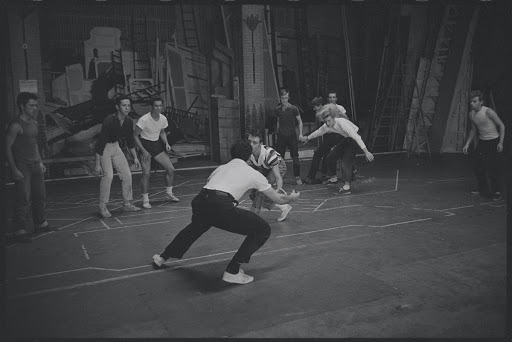 Jerome Robbins directs rumble scene with actors during rehearsal for the stage production West Side Story