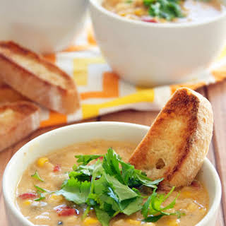 Roasted Red Pepper And Corn Chowder.