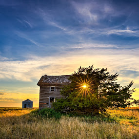 Mail-Order House at Sunset by Kendra Perry Koski - Buildings & Architecture Decaying & Abandoned ( tripp county, wood, hdr, grass, catalog, mail-order, sears & roebuck, winner, south dakota, house, architecture, landscape, sun flare, witten, sunburst, kendra perry-koski, buildings, summer, weathered wood, www.dakotawindsphoto.com. 2015, dakota winds photography, abandoned, september,  )