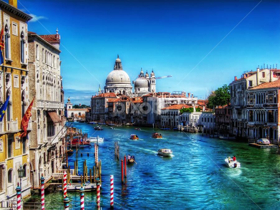 View of Santa Maria della Salute, Venice by Andrea Conti - Travel Locations Landmarks ( venezia, church, ponte dell'accademia, santa maria della salute, venice, bridge, view, italy, canal grande, landmark, travel )