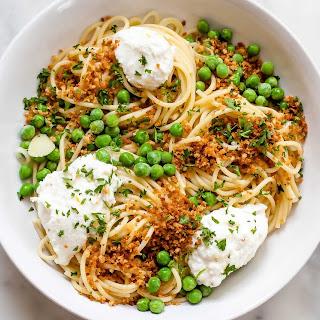Lemony Spaghetti with Peas and Ricotta.