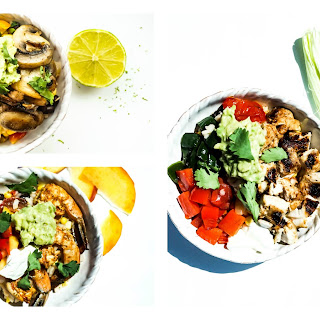Mushroom and Poblano Pepper Rice Bowl
