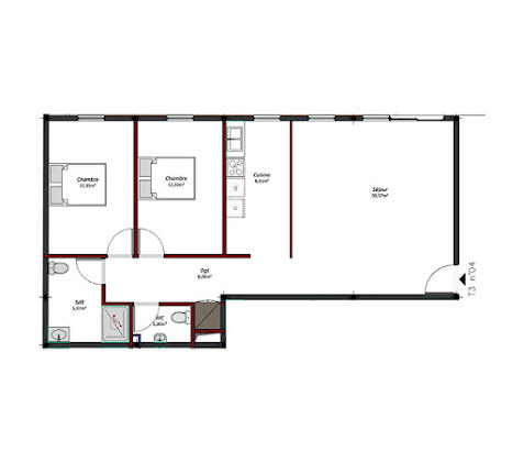 Location appartement 3 pièces 81,83 m2