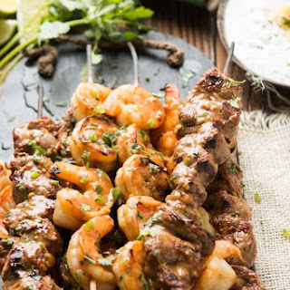 Surf and Turf Kabobs with Pina Colada Sauce