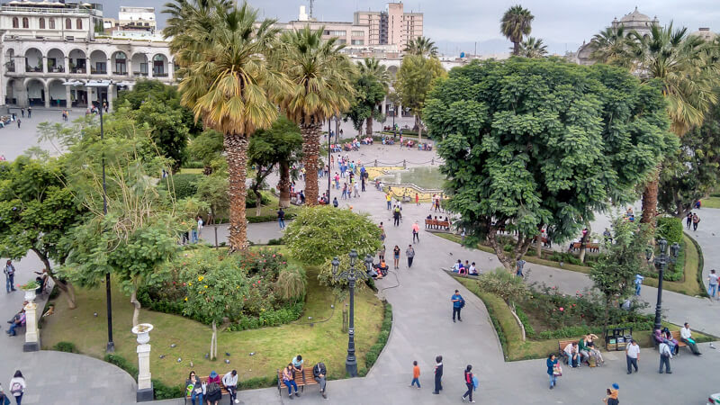 people walking around in plaza de armas or the central square in arequipa town of peru south america