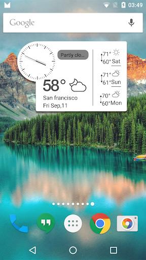 アンバーミニ時計多機能ウィジェット-時計 天気 最低 高気温