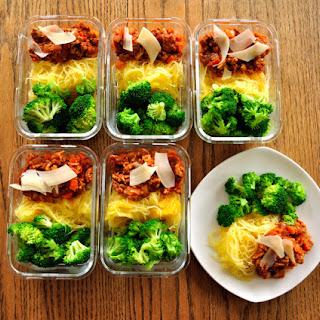 Turkey Bolognese Spaghetti Squash with Broccoli