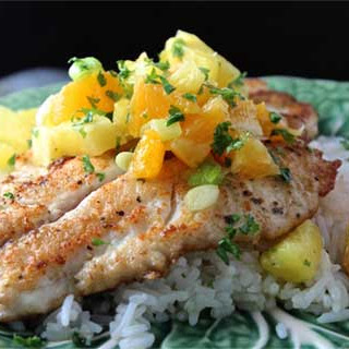 Seared Snapper with Orange-Pineapple Salsa
