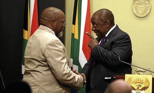 New Mineral Resources Minister Gwede Mantashe with President Cyril Ramaphosa    during the swearing-in of ministers on Tuesday. Picture: ESA ALEXANDER