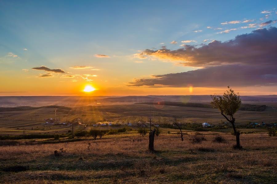 Autumn sunset by Tîmplaru Razvan - Landscapes Sunsets & Sunrises ( clouds, hills, autumn, sunset, october, landscape )