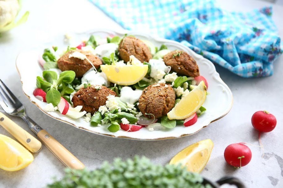 Angie S Recipes Taste Of Home Baked Cauliflower Falafel With Almonds And Broccoli Seed Sprouts