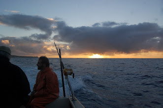 Photo: The sun is just rising when we leave Pohoiki Bay (Isaac Hale Beach Park) on the Lava Kat, Capt. Shane in command.