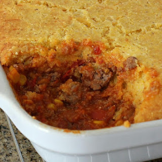 Tamale Pie With Cheese Cornmeal Topping.