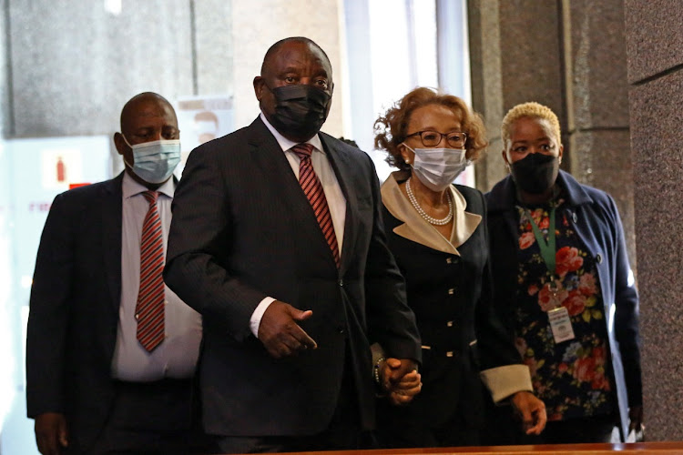 'The vast majority of ANC members and leaders are vehemently opposed to corruption in all its manifestations,' said Cyril Ramaphosa, seen at the state capture inquiry accompanied by his wife Dr Tshepo Motsepe.