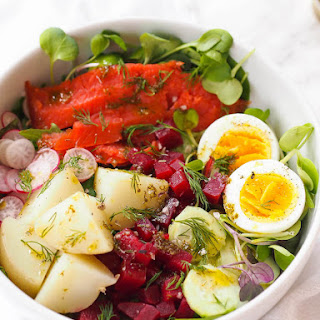 Nordic Salad with Smoked Salmon and Lemon-Dill Dressing Recipe