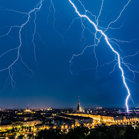 Free energy... by Florin  Galan - Landscapes Weather ( blue, night, lightnings, landscape, city,  )