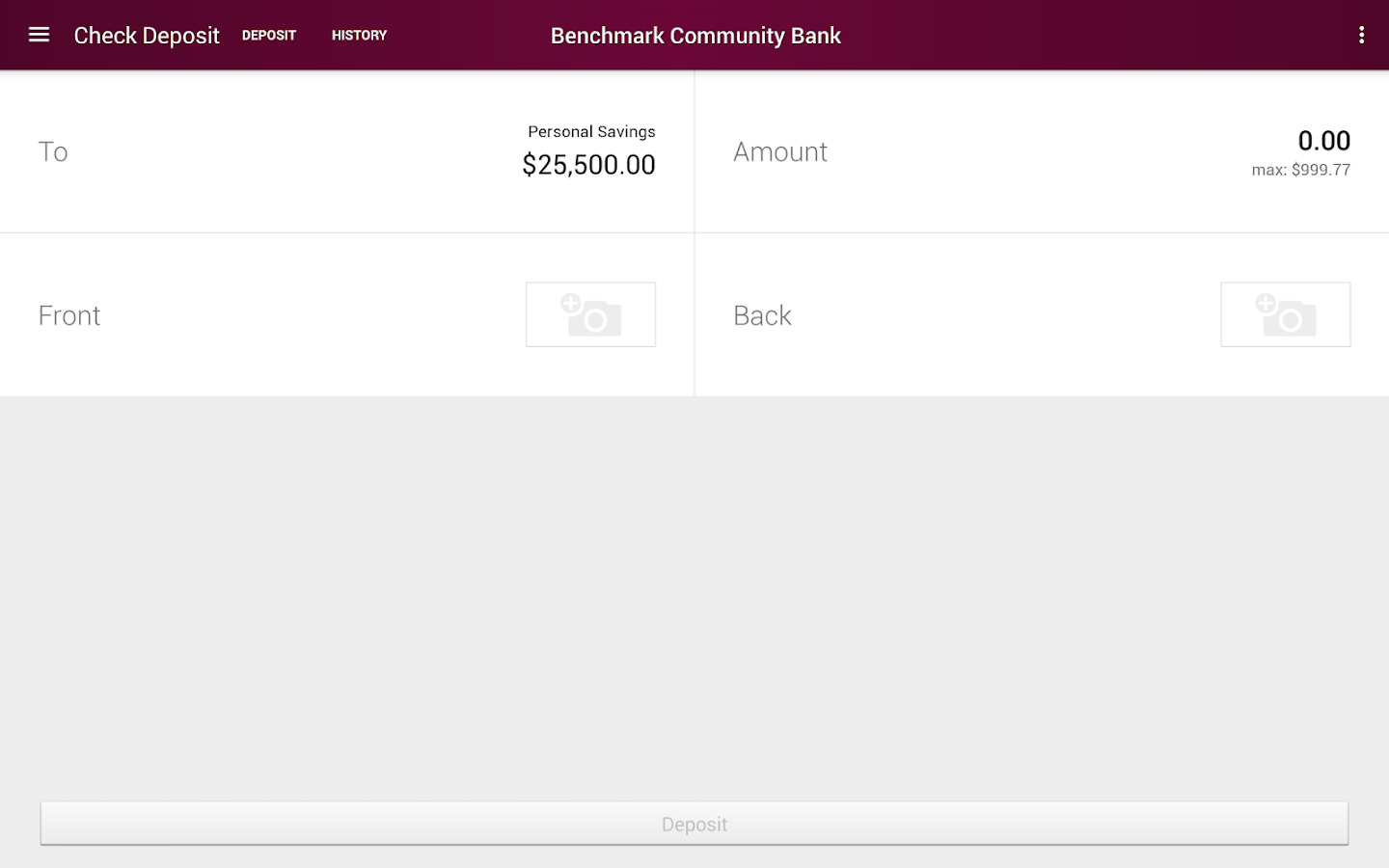 Benchmark Community Bank- screenshot