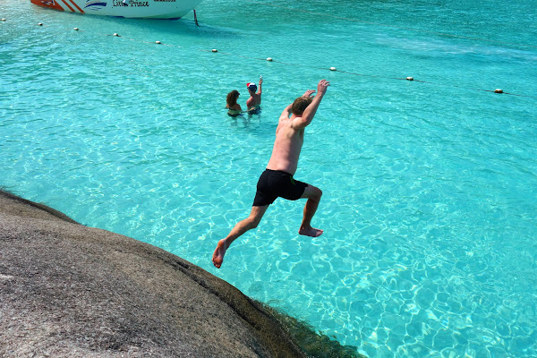 Jump into crystal clear water
