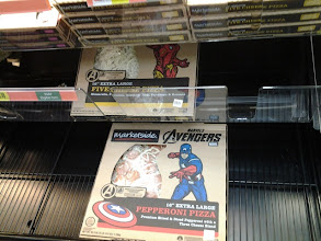 Photo: I was surprised there were only two specially marked Avengers pizzas. They were sold out and the shelves were pretty bare. We got the cheese one.