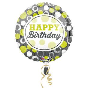 Folieballong, happy birthday grön silvrig