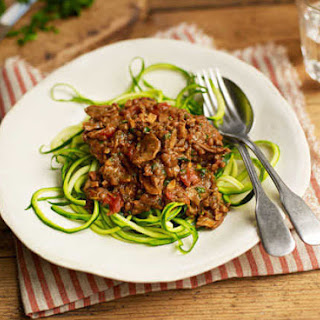 Porcini And Green Lentil Bolognese With Courgetti.