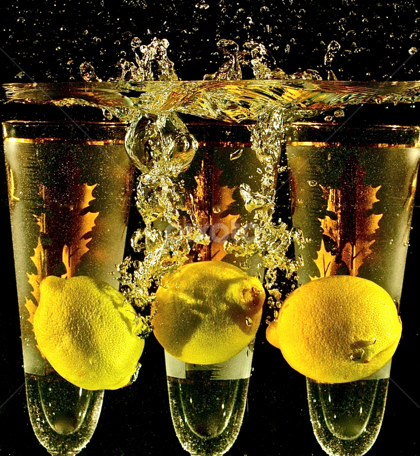 Glasses With Three Lemons by Craig Luchin - Food & Drink Fruits & Vegetables