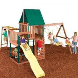 Wooden play set with swings
