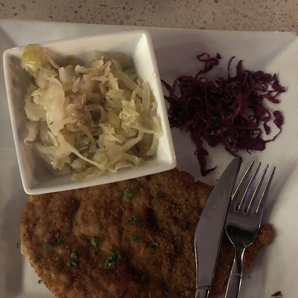 GF Schnitzel (prepared completely separately from the normal ones) with sauerkraut and red cabbage. Amazing!