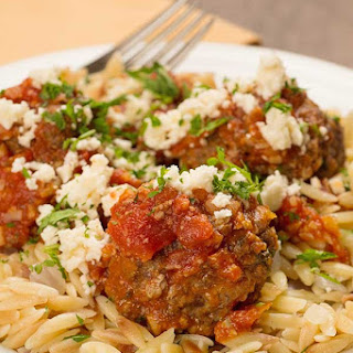Greek Meatballs with Orzo and Feta
