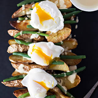Roasted Fingerling Potatoes with Poached Eggs and Mustard Mayo.