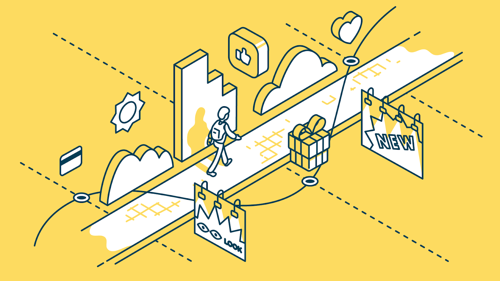Representation of a customer journey map, shows a person walking on a path with features on either side, showing their path while using the product, which is a representation of a great virtual workshop.
