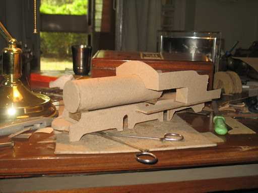 The coal scuttle test-fitted onto the boiler