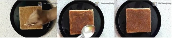 Pour the honey syrup on the sponge cake.