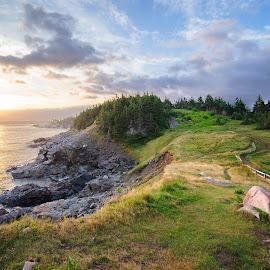 Middle Head at Sunrise by Glen Fortner - Landscapes Sunsets & Sunrises ( canada, ocean, nova scotia, maritimes, hike, cape breton )