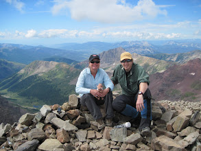 Photo: Bob, Wooly and I on the summit of Castle Peak. 14,265 ft