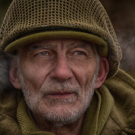 Antonio by Marco Bertamé - People Portraits of Men ( ww2, soldier, headshot, helmet, smoke, beaed, military, portrait, eyes,  )