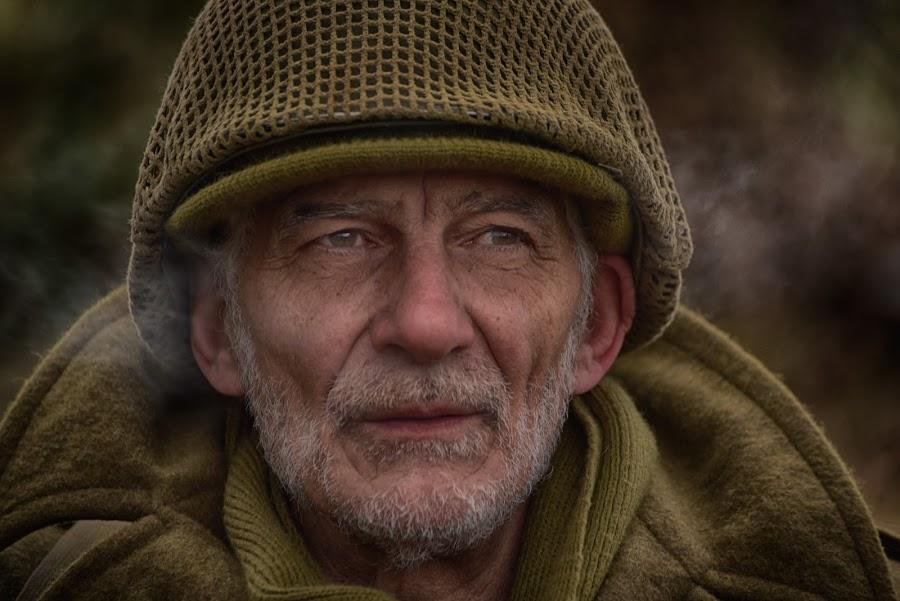 Antonio by Marco Bertamé - People Portraits of Men ( ww2, soldier, headshot, helmet, smoke, beaed, military, portrait, eyes,  )