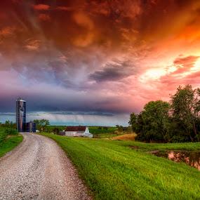 Stormy Skies by Ken Smith - Landscapes Prairies, Meadows & Fields ( sunset, landscape, nebraska )
