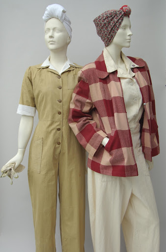 White cotton overalls with red plaid jacket, and khaki boilersuit