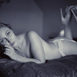 Timeless by Big Pikey - Nudes & Boudoir Boudoir ( boudoir, vintage look boudoir, boudoir black and white, black and white blonde girl, boudoir blonde, beautiful implied nude )