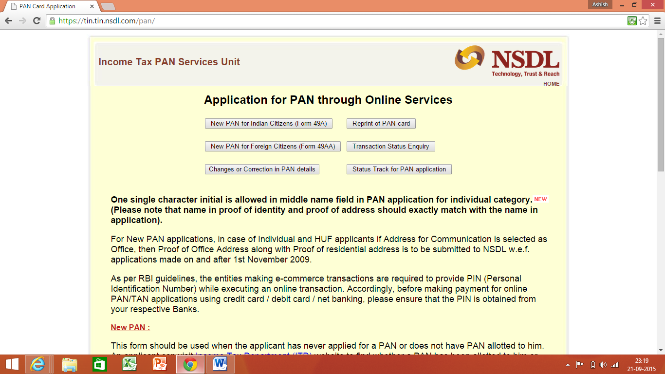 Pan Card Application Online in India