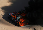Three-times Le Mans winner Romain Dumas saw his Dakar dreams go up in smoke when his Peugeot caught fire 65km into the special stage, forcing the Frenchman's retirement.
