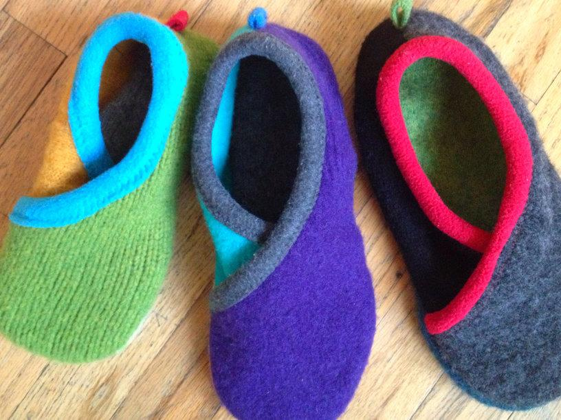 slippers made of sweaters