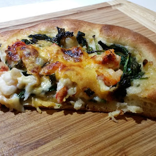Lobster Pizza with Gouda, Spinach, Mushrooms.