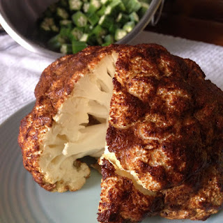 Spicy Whole Roasted Cauliflower with Parmesan.
